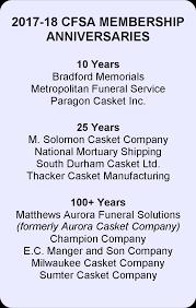 matthews casket company new membership year begins for cfsa thank you casket and