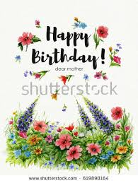 greeting card happy birthday you watercolor stock illustration