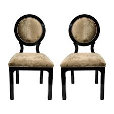 Occasional Chair Pair Of Luxe Art Deco Occasional Chairs With Round Back Design In