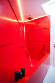 custom bath and walls in krion happy red solidity