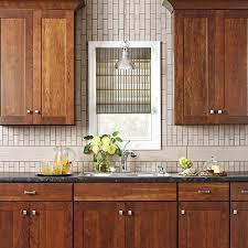 tile backsplashes for kitchens ideas wood finish cabinets with a subway tile backsplash i