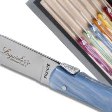 set 6 laguiole steak knives plexiglass assorted color handles