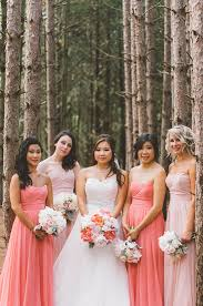 coral and gold bridesmaid dresses blush and gold wedding