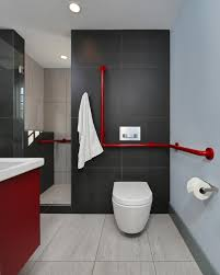 modern master bathroom ideas red and black