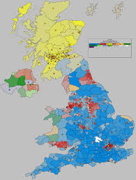 Map Of Election Results by Political Leanings Of English Regions In The Last 10 General