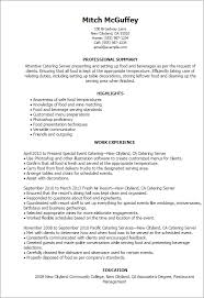 Professional Summary On Resume Examples by Professional Catering Server Templates To Showcase Your Talent