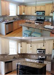 White Kitchen Black Island White With Tan Glaze Refinished Cabinets U0026 Black Island And
