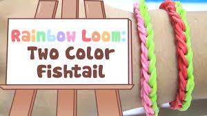 rainbow loom two color fishtail bracelet tutorial youtube