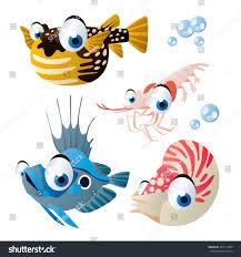 cute vector comic cartoon fish set stock vector 340137485