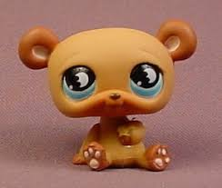 littlest pet shop 814 brown with blue moon darker