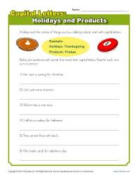 capitalization worksheet holidays and products practice activity