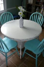 54 best sunflowers images on pinterest sunflowers valances and diy white chalk paint on wood round table turquoise chairs this is what i want in my eat in kitchen i have this same table and chairs