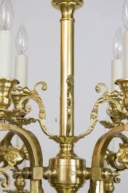 Gas Chandelier Twelve Light Continental Brass Gas Chandelier Appleton Antique