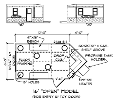 cabin plan 16ft open model fishing floor striking ice house plans