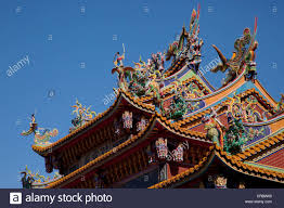 chinese dragon sculpture on rooftop of a temple jiu fen ruifang