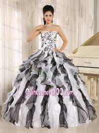 black and white quinceanera dresses black and white organza sweet sixteen dresses with ruffles