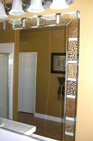 Beveled Mirrors For Bathroom Amazing Beveled Bathroom Mirror And Animal Print Bathroom Vanity