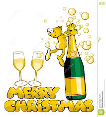 champagne bottle cartoon merry christmas man and champagne vector illustration stock