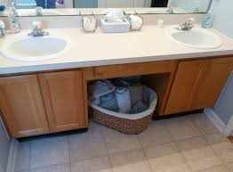 bathrooms design varnished wooden vanity blue red white dark