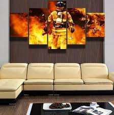 firefighter home decorations firefighters first responders 5 panel canvas wall art print