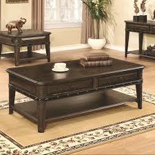 Two Drawer Coffee Table Coaster 704258 Two Drawer Coffee Table Dull Black Wire Brushed Finish