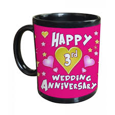 3rd wedding anniversary gifts 3rd wedding anniversary gift printed coffee mug 325ml black