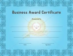 blue themed business award certificate template example with