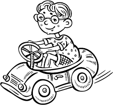 boy glassess driving toy car coloring pages place
