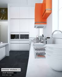 making of ivory white contemporary kitchen 3d rendering