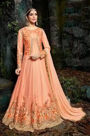 peach color buy designer wedding wear peach color georgette long floor length