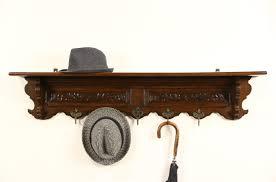sold dutch oak 1900 antique hat or coat rack u0026 hall shelf brass