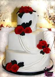 formal black red white flowers fondant museum round square summer