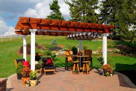 Steel Pergola With Canopy by Vinyl U0026 Wooden Pergolas Add Style To Your Home Penn Dutch