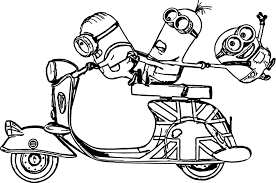 minions scooter bob kevin stuart despicable me coloring page