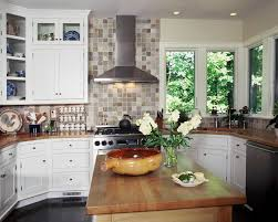 Kitchen With Butcher Block Island by Stainless Steel Hood And Full Height Backsplash Butcher Block