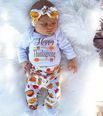 baby thanksgiving hat 4pcs infant babies sleeve onesie hat headband letter