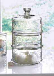 Glass Bathroom Storage Jars 3 Tier Etched Glass Bathroom Storage Jar 23cm X 12 5cm Matalan