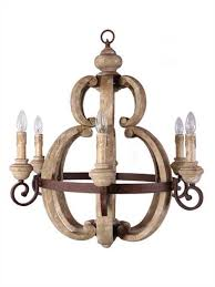 Country Light Fixtures French Country Cottage Style Aged Large Round Wood Chandelier
