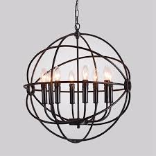 Cage Pendant Light Modern Industrial Chandelier 6 Light Hanging Fixture Round Ball