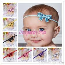 thin headbands infant shine bow flower headbands girl elastic thin headband baby