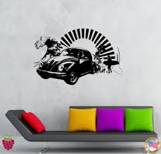 vinyl decal wall sticker volkswagen bug antique car surfing beach vinyl decal wall sticker volkswagen bug antique car surfing beach decor for garage or man cave