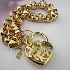 gold charm link bracelet images Wholesale wome 39 s 18k 18ct yellow gold bracelet chain ladies jpg