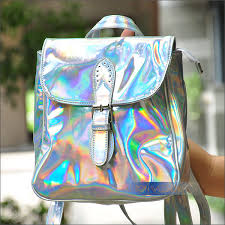 holographic bags fashion metal holographic laser backpack women stylish rainbow