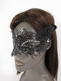 black metal fox face multi rhinestones back tie women halloween