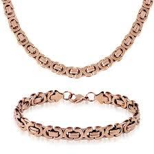 rose gold bracelet set images Men 39 s stainless steel necklace and bracelet sets jpg