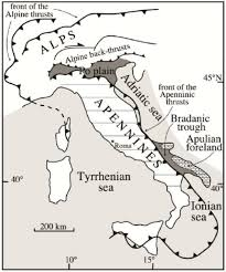 The Map Of Italy by Schematic Structural Map Of Italy Po Plain North Central