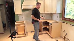 Kitchen Cabinet Installation Tools by How To Install And Level Lower Cabinet Youtube