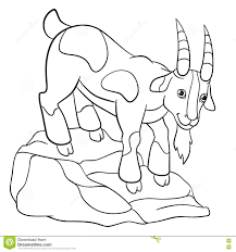 coloring pages farm animals cute billy goat stock vector