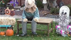 spirit halloween discount codes 2015 davidstv halloween animatronic setup sitting scarecrow