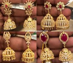 gold jhumka earrings design with price 22k cz jhumka designs 2015 gold and indian jewelry